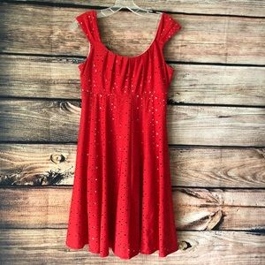Red Eyelet Pullover Dress